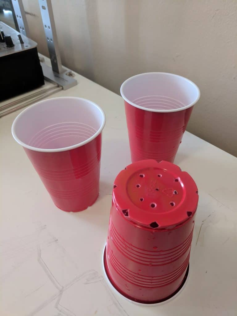 Red cup planters for cannabis seeds