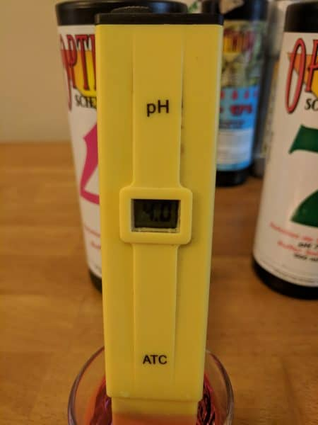 pH pen adjusted to pH of 4