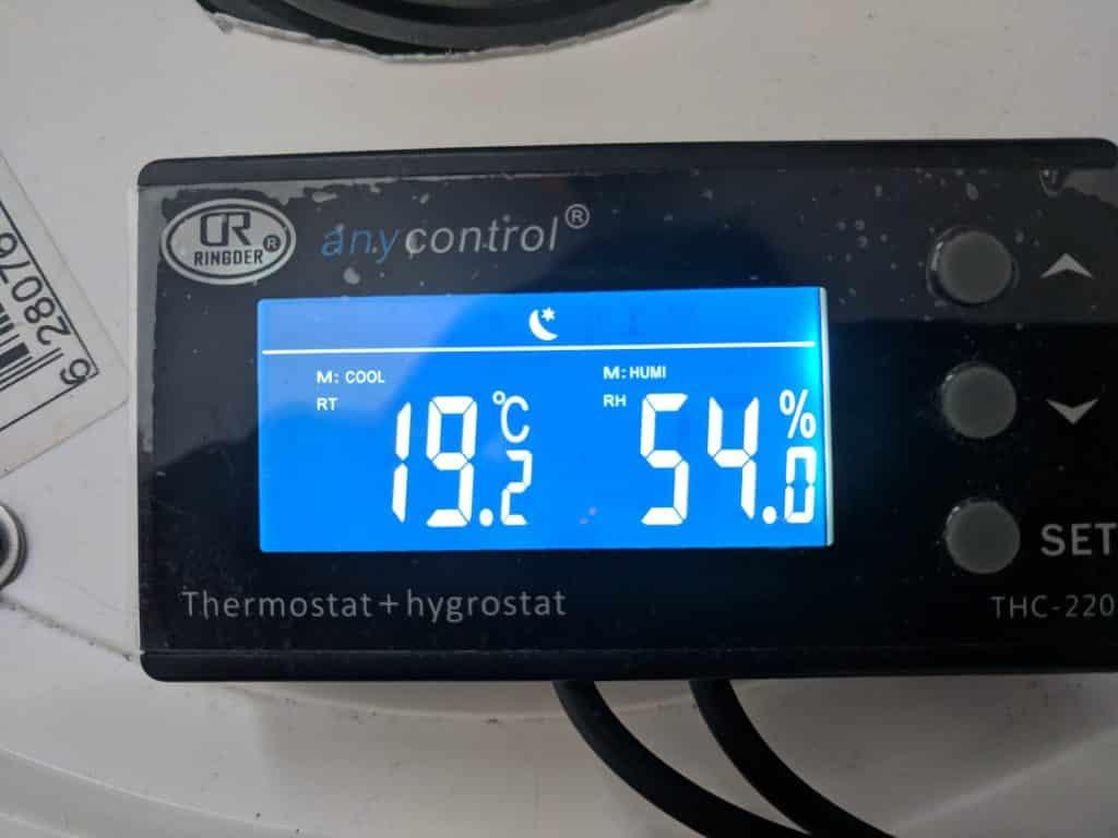 Affichage du contrôleur d'humidité