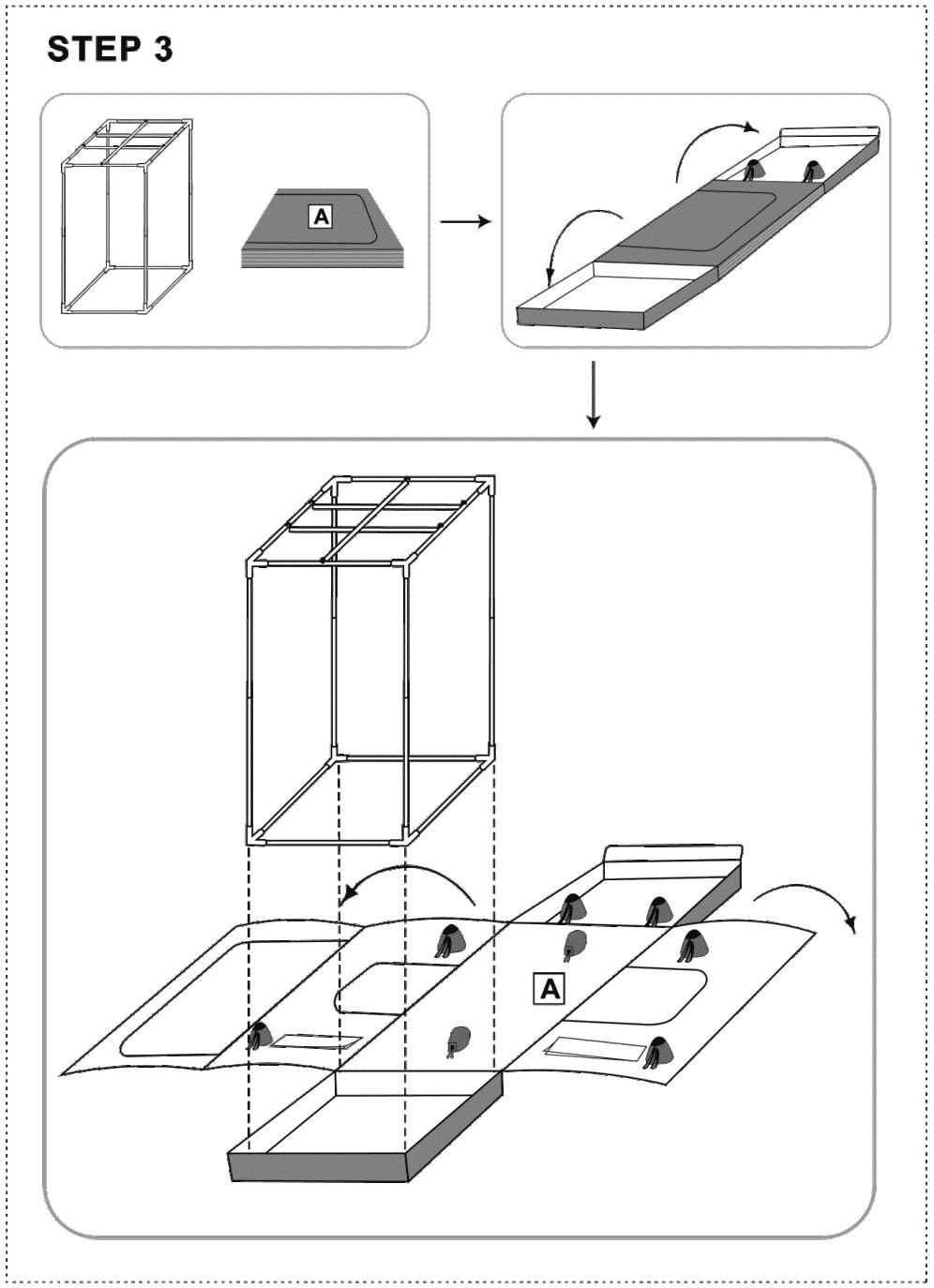 Troisième étape pour l'assemblage de la tente de culture